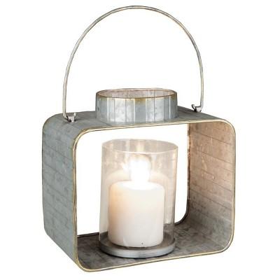 Galvanized 7  Outdoor Lantern Candle Holder - Silver - Foreside Home & Garden