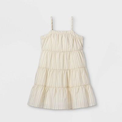 Toddler Girls' Striped Tiered Tank Dress - art class™ Ivory