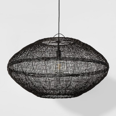 Natural Woven Oblong Extra Large Pendant Lamp Black (Includes Energy Efficient Light Bulb)- Project 62™ + Leanne Ford