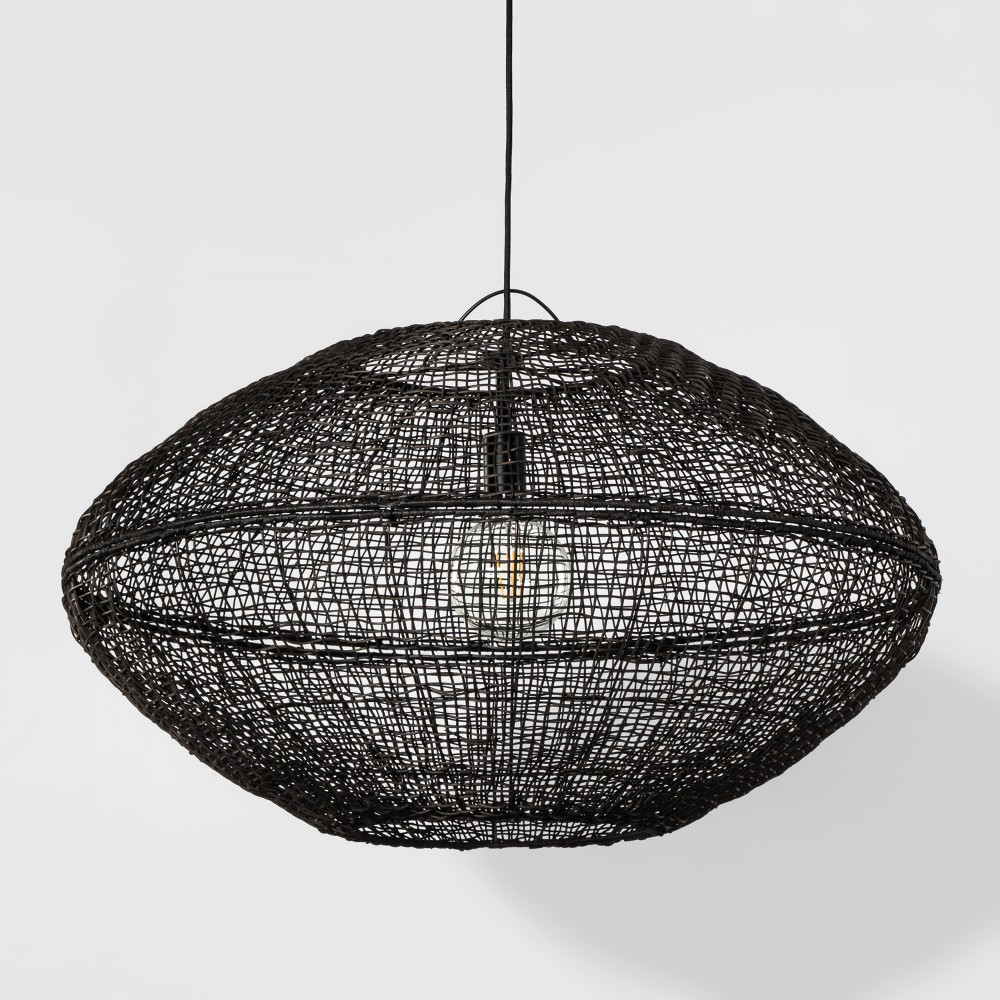 Natural Woven Oblong Extra Large Pendant Lamp Black (Includes Energy Efficient Light Bulb) - Project 62 + Leanne Ford