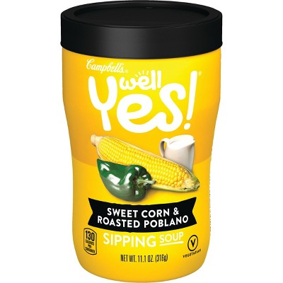Campbell's Well Yes! Sweet Corn & Roasted Poblano Microwavable Sipping Soup - 11.2oz