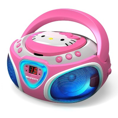 Hello Kitty CD Boombox with AM/FM Stereo Radio and LED Light Show (KT2025) - Pink