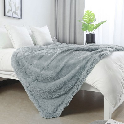 1 Pc Throw Microfiber Long Shaggy Bed Blankets Gray  - PiccoCasa