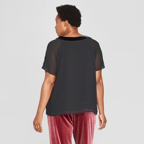 44540acf6de Women s Plus Size Velvet Trim Neckline Short Sleeve Top - Ava   Viv™ Black  4X   Target