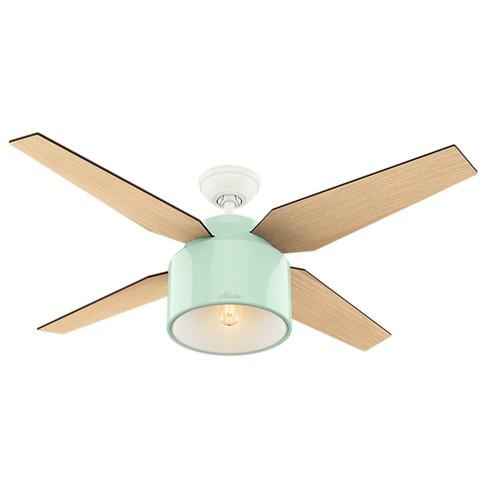 52 Cranbrook Mint Ceiling Fan With Light Handheld Remote Hunter Target