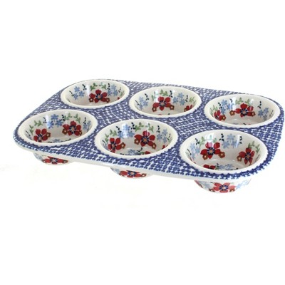 Blue Rose Polish Pottery Red Poppy Muffin Pan