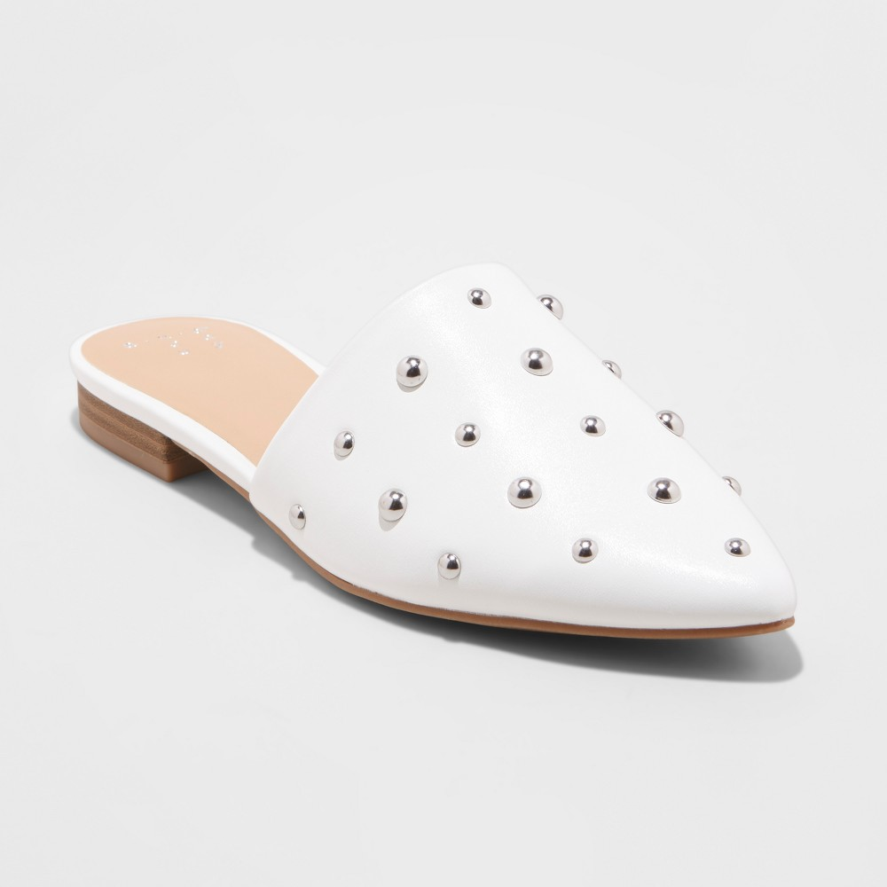Women's Kari Studded Mules - A New Day White 8