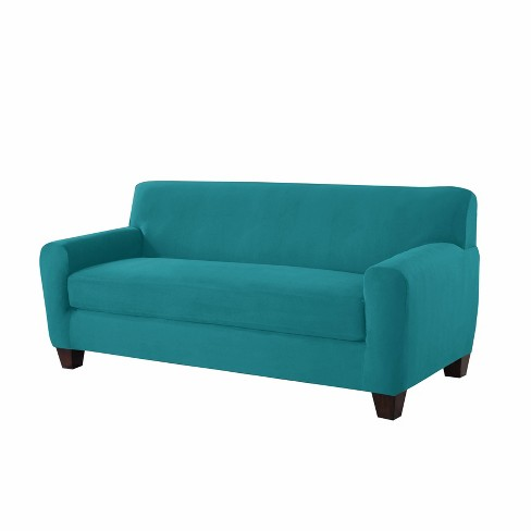 Sofa Box Stretch Fit Slipcover Teal - Serta - image 1 of 2