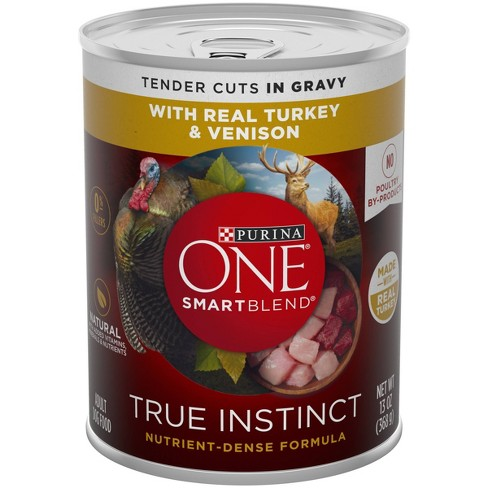Purina ONE Natural High Protein Gravy Wet Dog Food SmartBlend True Instinct Real Turkey & Venison - 13oz Can - image 1 of 3