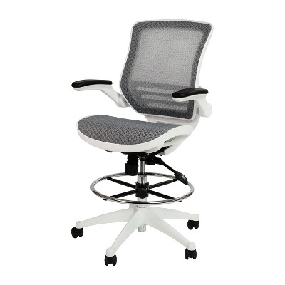 Flash Furniture Mid-Back Transparent Mesh Drafting Chair with Flip-Up Arms