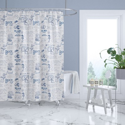 Beach Life Lined Shower Curtain with Grommets Navy - Levtex Home