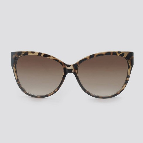 Women's Animal Print Cateye Plastic Sunglasses - A New Day™ Black - image 1 of 2