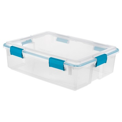 Sterilite 37 Qt Gasket Box Clear with Blue Latches