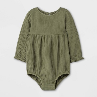 Grayson Mini Baby Girls' Cotton Gauze Bubble Romper - Olive Green