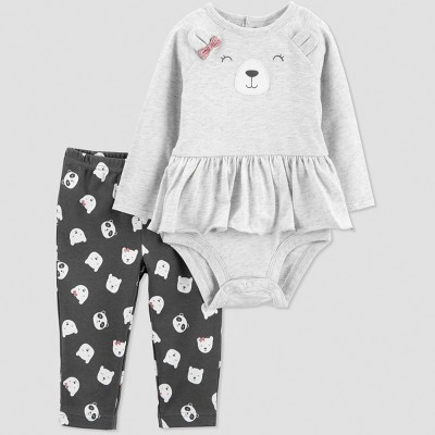 Baby Girls' 2pc Bear Set - Just One You® made by carter's Gray 12M