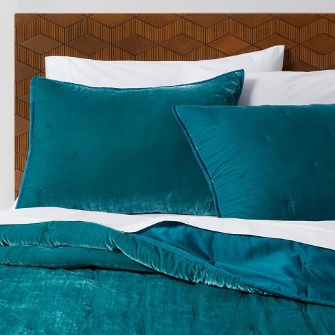 Teal Velvet Tufted Stitch Quilt Full, Moss Green Velvet Bedding