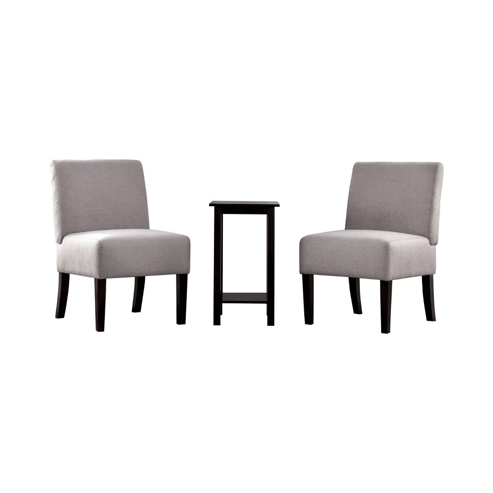 Image of 3pc Chastain 2 Chairs 1 Accent Table Wood & Vinyl Light Gray - miBasics
