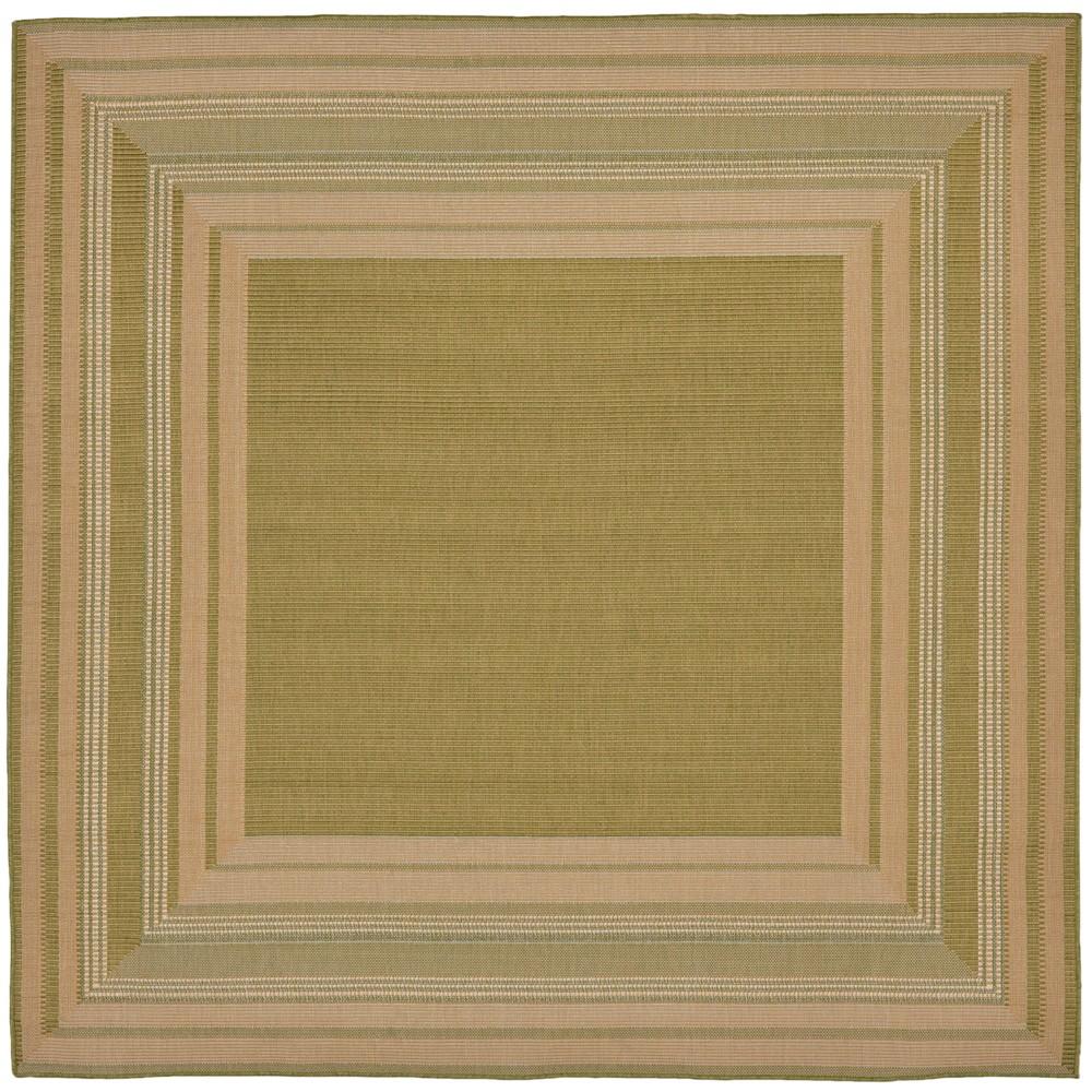 7'10 Stripe Woven Square Area Rug Green - Liora Manne