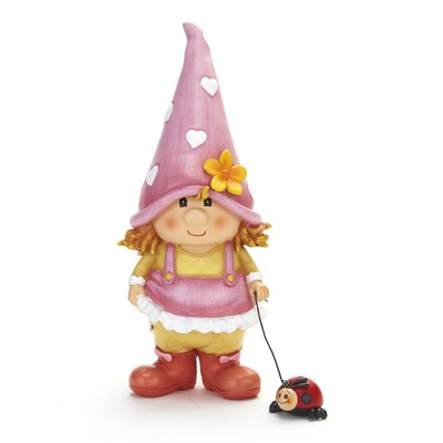 Lakeside Petunia the Garden Gnome Lawn Sculpture with Ladybug on a Leash