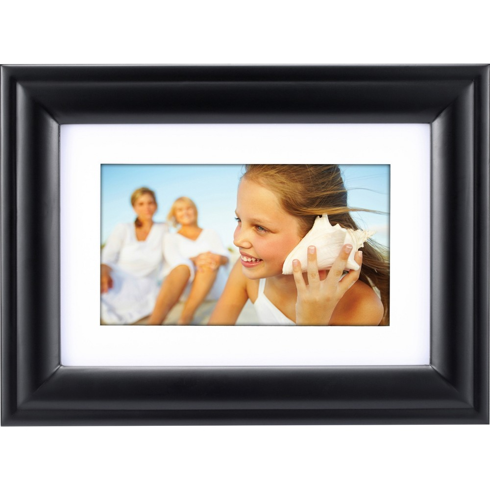 7 Digital Frame with Mat Black - Polaroid Combine elegant style with convenient display with the Digital Frame with Mat from Polaroid. This wood digital photo frame features a black finish and an interior white mat, creating a sleek aesthetic that easily updates any room in your home. You can plug in your memory card or Usb to show your digital photos for all to see; customizable slideshow settings and programmable transitions help you adjust your display. The included image editing gives you total creative control, and the custom on/off function provides extra convenience. Place this digital picture frame on your bookshelf or coffee table to fill your space with photographic flair. Size: 7X9.