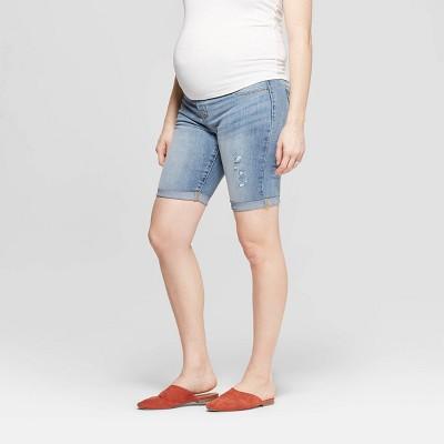 Maternity Crossover Panel Bermuda Jean Shorts - Isabel Maternity by Ingrid & Isabel™ Light Wash 18