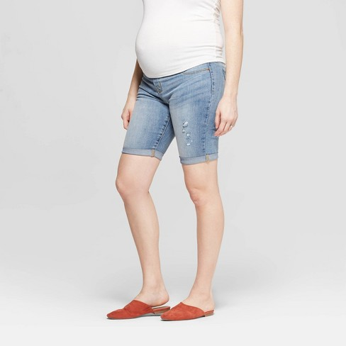 926f9ee5b9ac5 Maternity Crossover Panel Bermuda Jean Shorts - Isabel Maternity By Ingrid  & Isabel™ Light Wash : Target