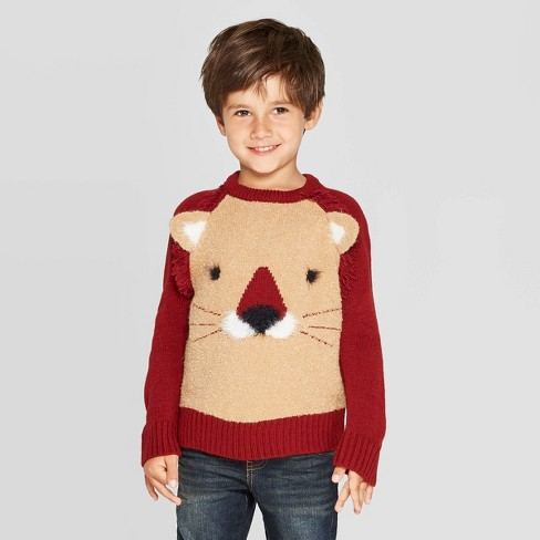 Toddler Boys' Long Sleeve Lion Pullover Sweater - Cat & Jack™ Brown/Marron - image 1 of 3