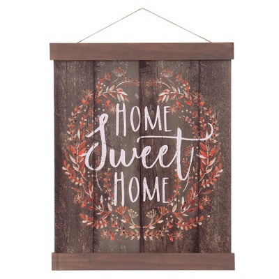 16 x20  Home Sweet Home Hanging Print with Wood Detail Wall Canvas Brown - Patton Wall Decor