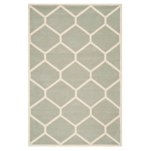 Gray/Ivory Honeycomb Tufted Area Rug 6'X9' - Safavieh - image 1 of 1