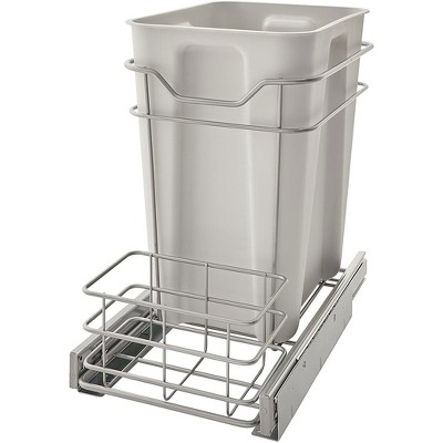 ClosetMaid 32102 Premium 24 Quart Lower Kitchen Cabinet Sliding Pull Out Trash Bin, Platinum