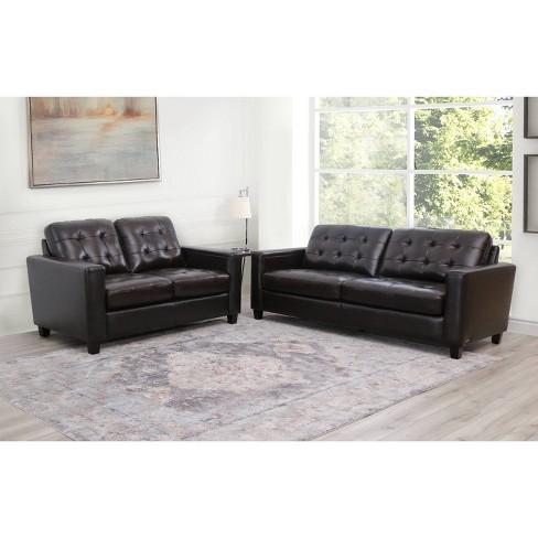 2pc Libson Top Grain Leather Sofa & Loveseat Set Brown - Abbyson Living
