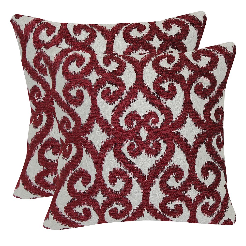 Red Jacquard Iron Gate Throw Pillow with Suede Back (18