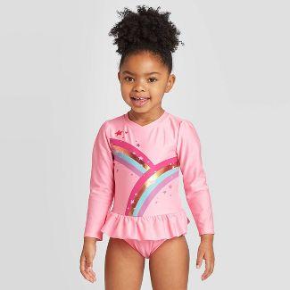 Toddler Girls' Rainbow Zip-Up Long Sleeve One Piece Rash Guard Swimsuit - Cat & Jack™ Rosado Pink Opaque 3T