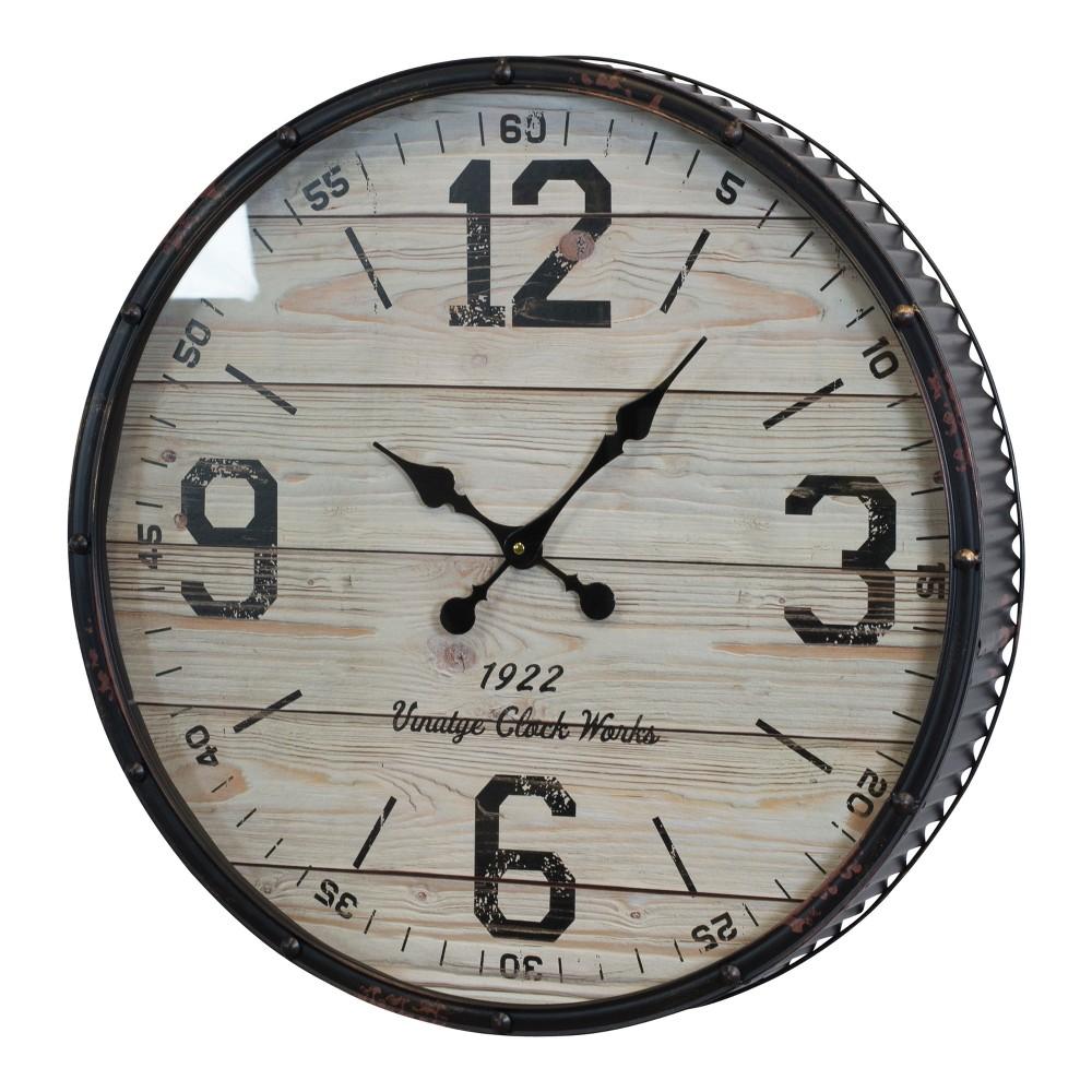 "Decorative Clock Black/Cream 24"" x 24"" - VIP Home & Garden"