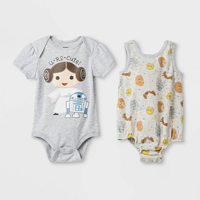 Baby Girls' 2pk Star Wars Princess Leia and Droids Bodysuit - Gray Newborn