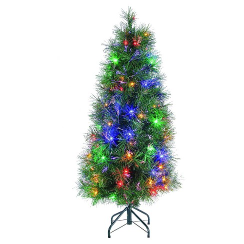 4ft pre lit led artificial christmas tree slim fiber optic multicolored lights