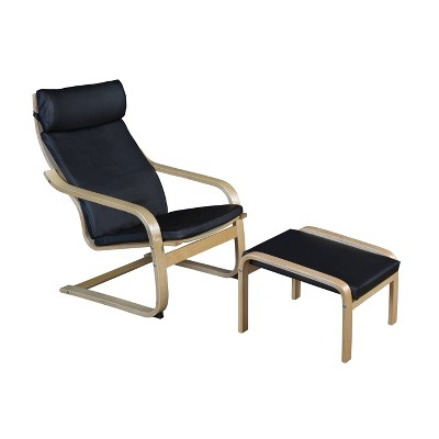 Akita Bentwood Reclining Chair and Ottoman Natural/Black Leather - Niche