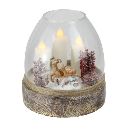 "Northlight 5"" Glass Reindeer Scene Flickering Winter Jar Candle - Brown/White - image 1 of 3"