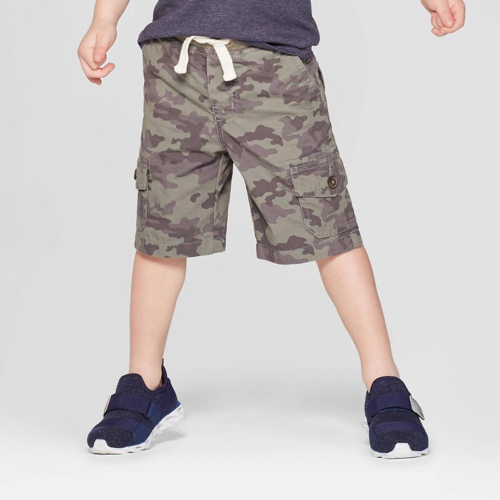 Toddler Boys' Twill Cargo Shorts - Cat & Jack Camo 2T, Green