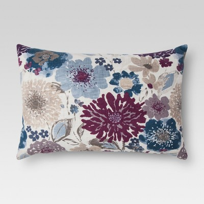 Purple Floral Oblong Throw Pillow - Threshold™