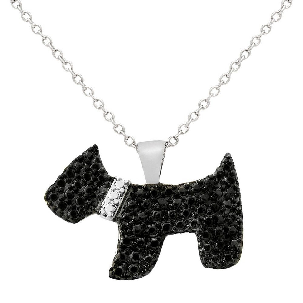 "Image of ""0.01 CT.T.W. Round-Cut Black Diamond Accent Prong Set Dog Silver Plated Pendant Necklace (18""""), Women's, Size: Small, Black/Silver"""