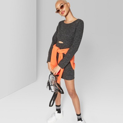 5b0901d65b6 Women s Long Sleeve Peekaboo Knit Mini Dress – Wild Fable™ Black S ...