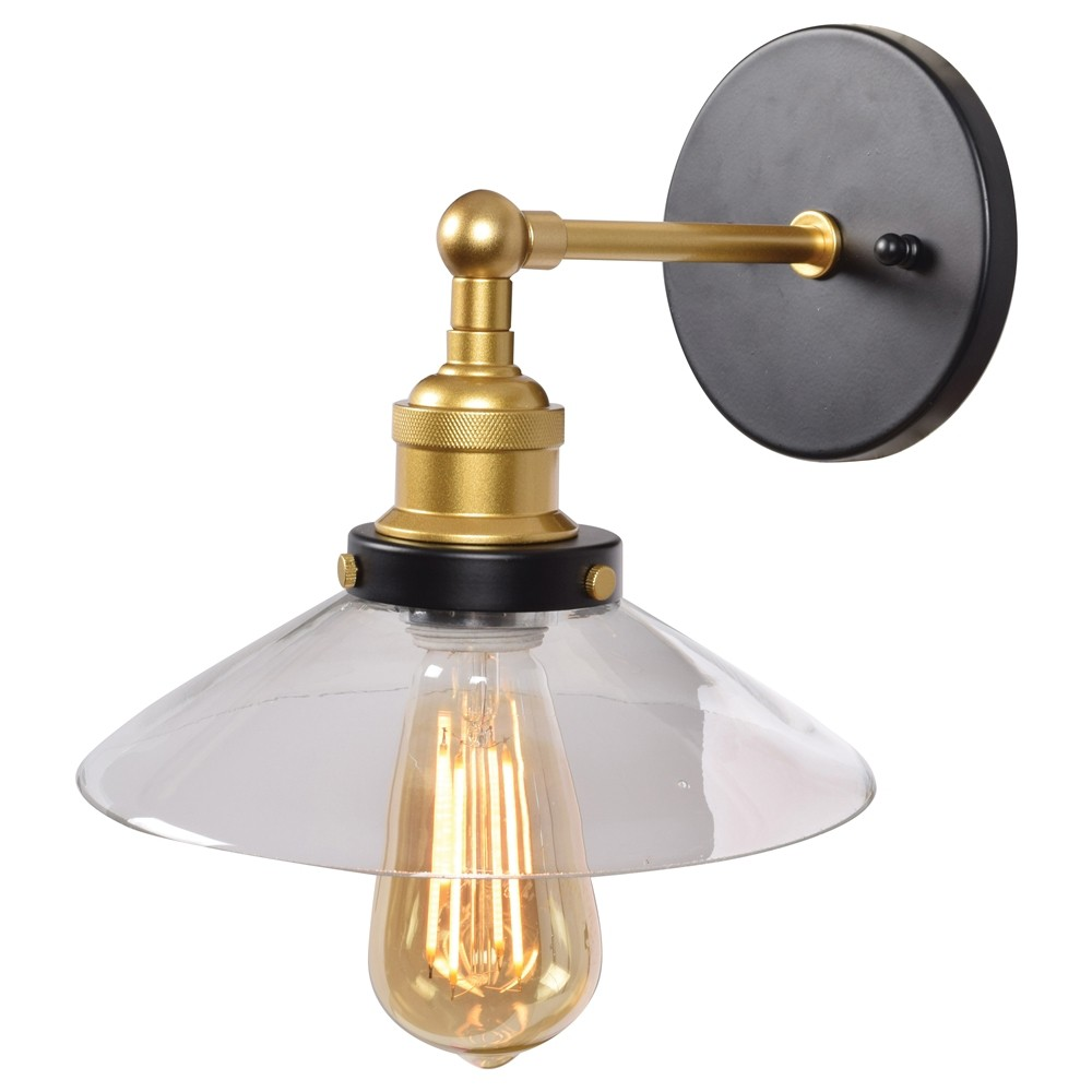 Access Lighting The District Retro Wall Sconce Clear Glass Shade Wall Lights Black