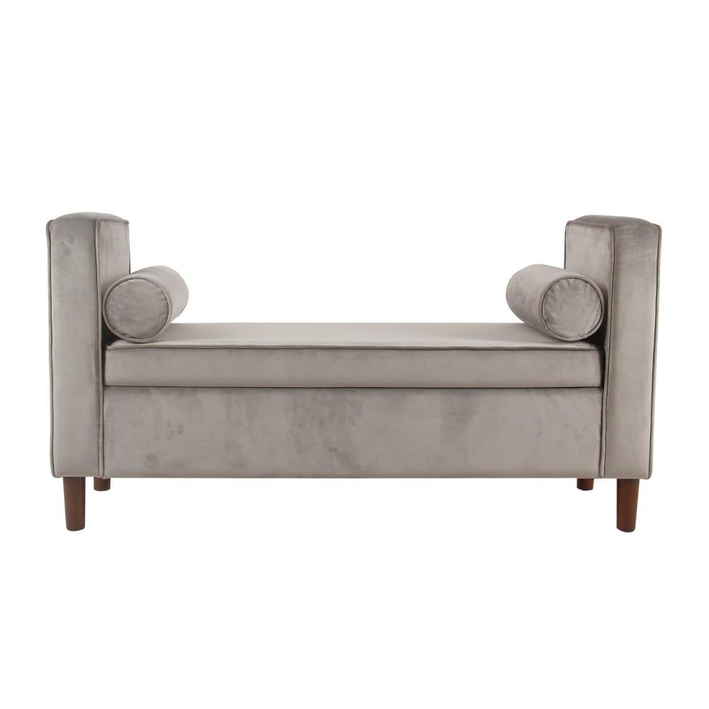 Rimo Velvet Storage Bench Gray - Homepop