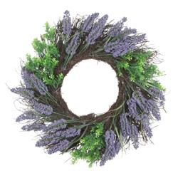 Northlight Lavender and Boxwood Artificial Spring Wreath, 22-Inch, Unlit