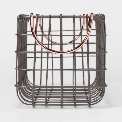 Wire Tank Top Basket With Pewter Finish And Copper Handle 16 X6 X6  - Threshold™