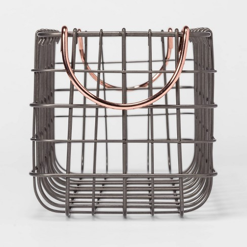 "Wire Tank Top Basket With Pewter Finish And Copper Handle 16""X6""X6"" - Threshold™ - image 1 of 3"