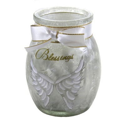 "Stony Creek 3.75"" Angel Wings Small Jar W/Ribbon Blessings Home  -  Novelty Sculpture Lights"