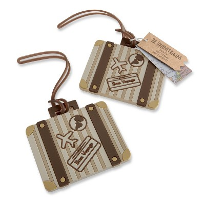 """12ct """"Let the Journey Begin"""" Vintage Suitcase Luggage Tag"""