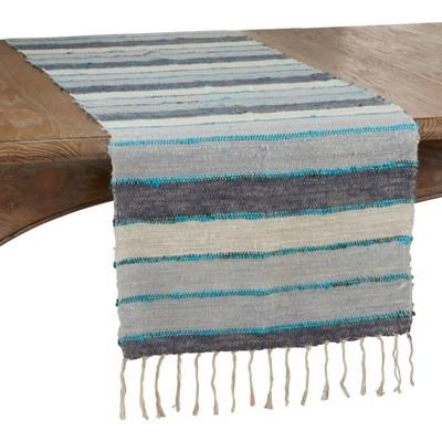 "72"" x 16"" Cotton Wide Stripe Table Runner Blue - Saro Lifestyle"